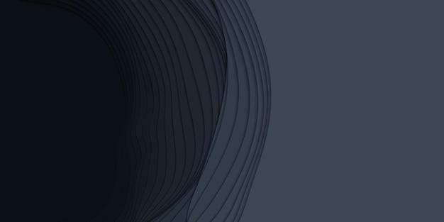 紙のカット形状の3d抽象的な背景。ダークカービングアート。グラデーションフェードカラーのペーパークラフトの風景。