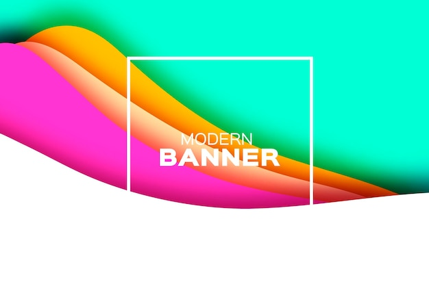 3d abstract background with paper cut shapes layered tunnel landscape wave banner