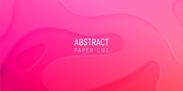 3d abstract background with pink paper cut gradient waves
