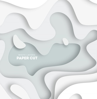 3d abstract background with white paper cut shapes