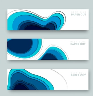 3d abstract blue background with deep paper cut shapes
