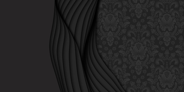 3d abstract dark background with paper cut and damask pattern
