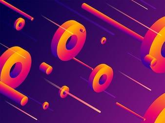 3D抽象的な要素は、光沢のある紫色の背景を装飾。