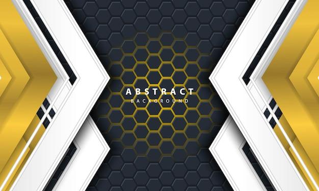 金と白のフレーム形状の3d抽象的な金色の明るい六角形の背景。