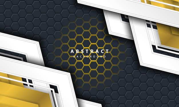 3d abstract gold light hexagonal background with gold and white frame shapes.