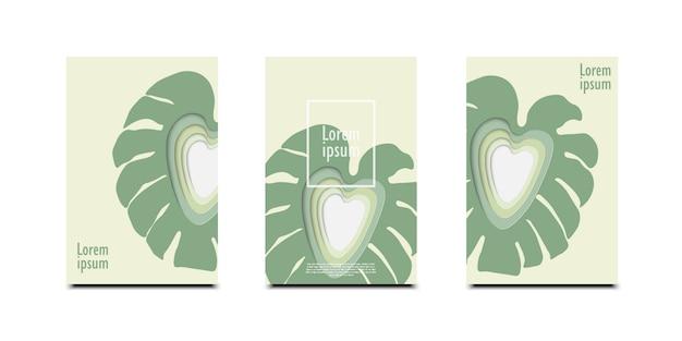 3次元抽象的な葉の背景と紙のカットシェイプのデザイン