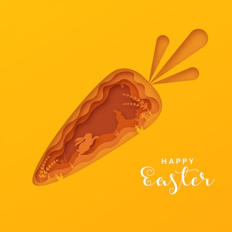 3d abstract paper cut carrot shape, happy easter greeting card template