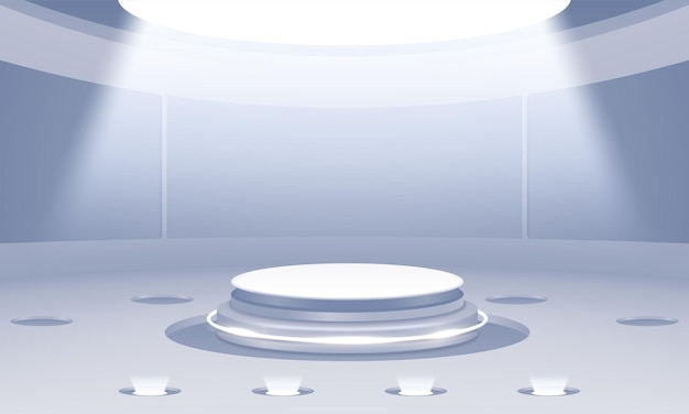 3d abstract podium with clean stage