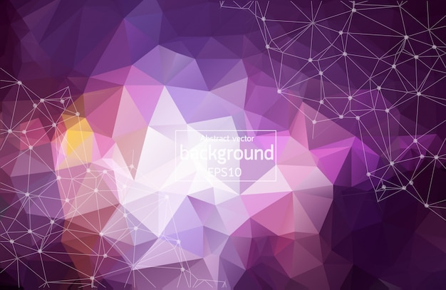 3d abstract polygonal space purple background