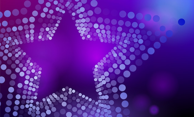 3d abstract purple and blue star background with circles