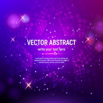 3d abstract purple mesh star background with circles, lens flares and glowing reflections. bokeh effect