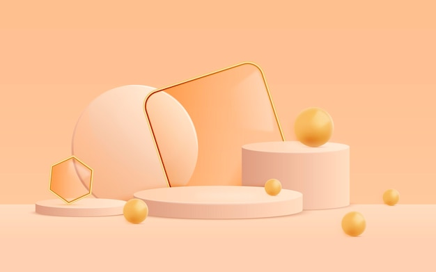 3d abstract scene background with shapes