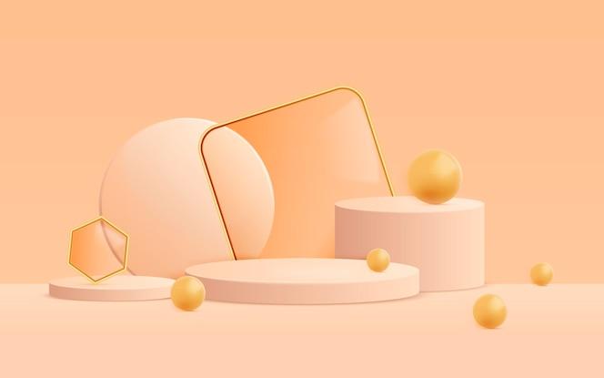 3d абстрактный фон сцены с фигурами