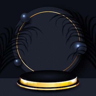3d abstract scene and shapes background in gold and dark color
