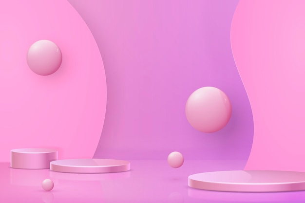 3d abstract scene and shapes background