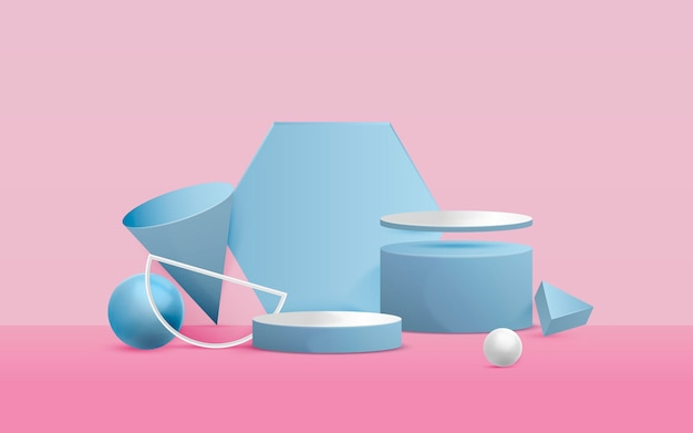 3d abstract scene with pink background