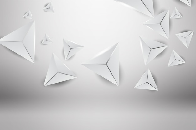 3d abstract triangle wall backdrop grey background.