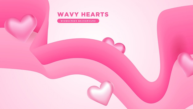 3d abstract wavy love theme background