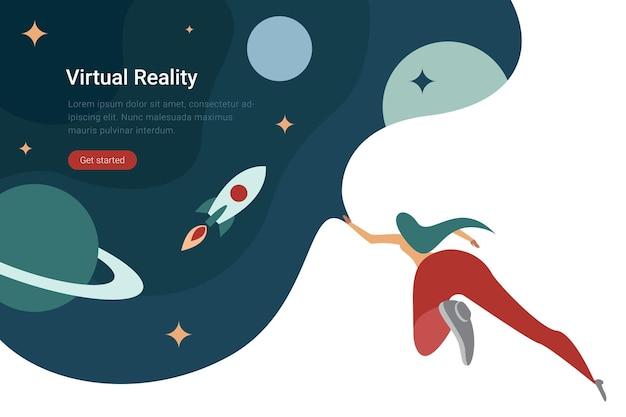 3d abvr technology плоский дизайн иллюстрация женщина в виртуальных очках в космосе с планетами