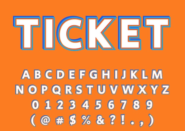 3d advertisement alphabets numbers set