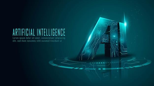 Трехмерная схема искусственного интеллекта в футуристической концепции, подходящая для технологий будущего