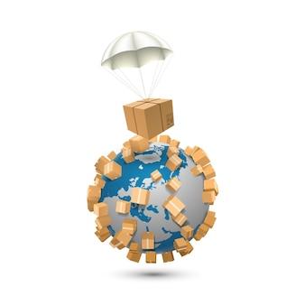 3d air parcels on a white background, sending worldwide art sign box. vector illustration
