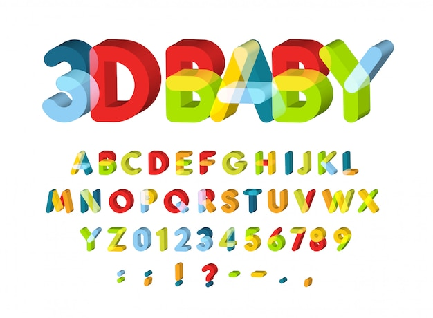 3d alphabet for baby zone decoration.
