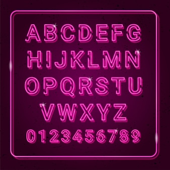 3d alphabet neon effect with highlights