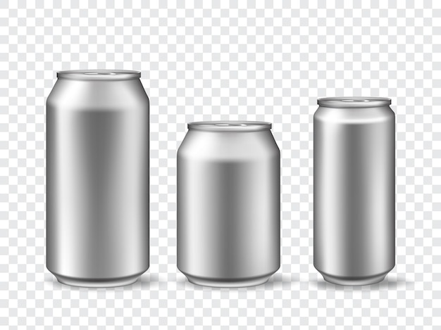 3d aluminum cans. realistic can mockups in 3 size. metallic tin for beer, juice, soda drink or lemonade. canned beverage vector template set. metal steel bank, aluminum packaging illustration
