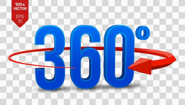 3d angle 360 degrees view icon isolated on transparent background.
