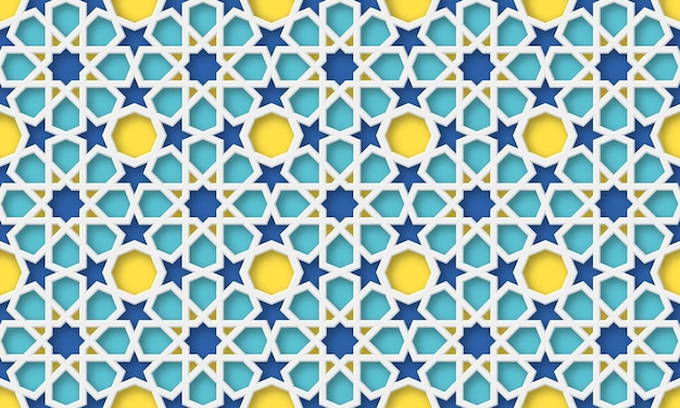 3d arabic background. islamic geometric pattern in traditional style, muslim ornament. illustration.