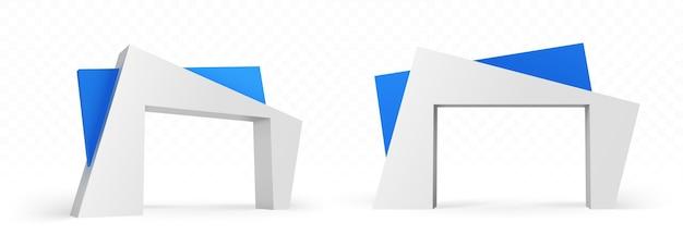 현대 건축 디자인의 3d 아치, 추상 각도 파란색과 흰색 건물, 외부 또는 내부 전면 및 측면보기를위한 게이트 건설