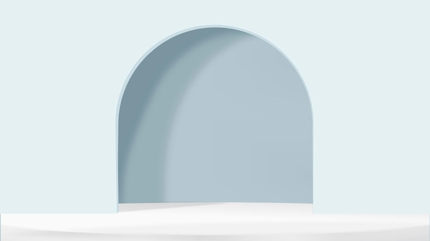 3d arch product backdrop vector in blue simple style