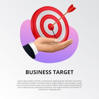 Вручите держать красную доску цели 3d с иллюстрацией стрелки archery.