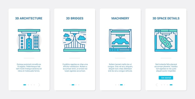 3d architecture and machinery modelling line design ux mobile app page screen set Premium Vector