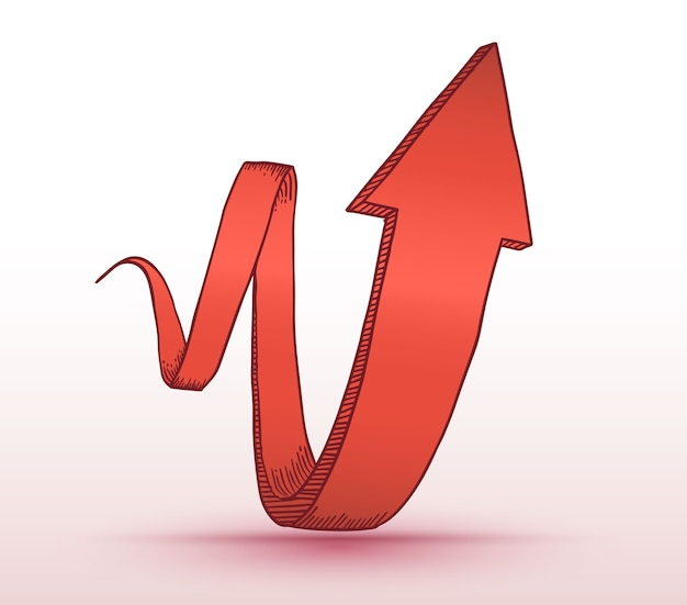ビジネスコンセプトのために描かれた3d矢。