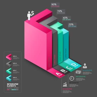 Варианты шага лестницы диаграммы дела стрелки 3d.