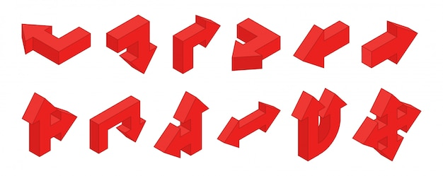 3d arrows. isometric red multidirectional arrows  set
