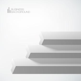 同じ色の灰色の形を重ねた3d矢印階段ビジネスオブジェクト