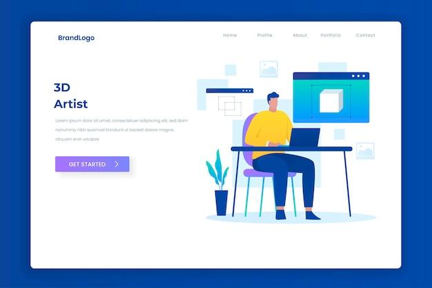 Концепция целевой страницы иллюстрации художника 3d. иллюстрация для веб-сайтов, целевых страниц, мобильных приложений, плакатов и баннеров.