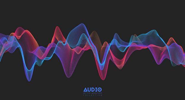 3d 오디오 음파. 다채로운 음악 펄스 진동.