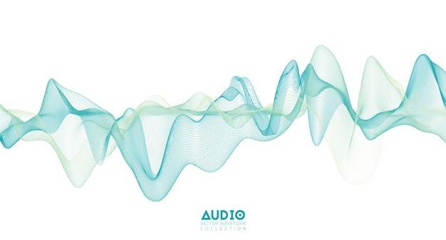 3d 오디오 음파. 밝은 녹색 음악 펄스 진동.