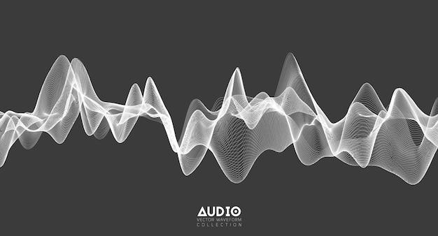 3d audio soundwave. white music pulse oscillation.