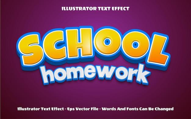 3d back to school homework text effect