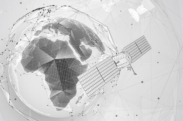 3 d の背景。体積三角形の通信衛星。抽象的なカオス粒子の爆発