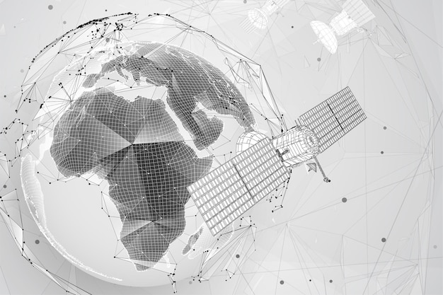 3d background. communication satellite in a volumetric triangular style. abstract caotic particle explosion