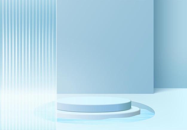 モダンな青いガラスの3d背景プラットフォーム。背景ベクトル3dレンダリングクリスタル表彰台プラットフォーム。スタンドショー化粧品。台座のモダンなガラススタジオプラットフォームのステージショーケース