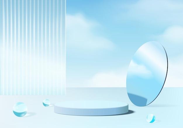 현대적인 파란색 유리가 있는 3d 배경 플랫폼입니다. 배경 벡터 3d 렌더링 크리스탈 연단 플랫폼입니다. 스탠드 쇼 화장품. 받침대 현대 유리 스튜디오 플랫폼의 무대 쇼케이스
