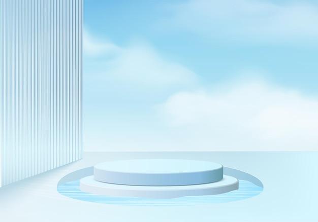 3d background platform with blue glass modern. background vector 3d rendering crystal podium platform. stand show cosmetic product. stage showcase on pedestal modern glass studio platform