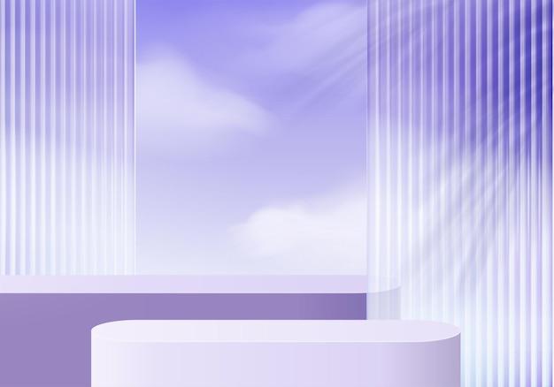 구름에 보라색 유리가 있는 3d 배경 플랫폼입니다. 배경 벡터 3d 렌더링 크리스탈 연단 플랫폼입니다. 스탠드 쇼 화장품. 받침대 현대 유리 스튜디오 플랫폼의 무대 쇼케이스